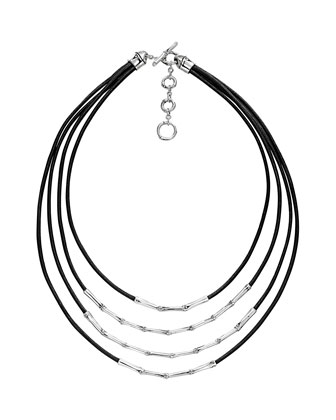 Bamboo Silver Four Row Necklace, Black Cord