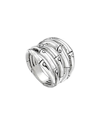 Bamboo Silver Wide Ring, 18mm