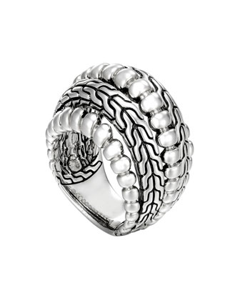 Classic Chain Silver Dome Ring