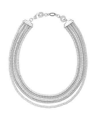 Classic Chain Silver Five-Strand Necklace