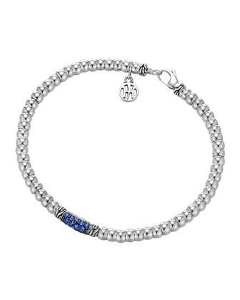 Bedeg Silver Beaded Bracelet with Blue Sapphires