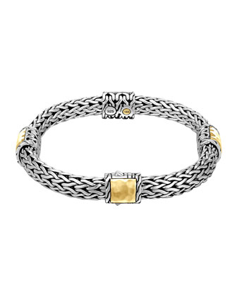 Classic Chain Palu Silver Bracelet with Gold Stations