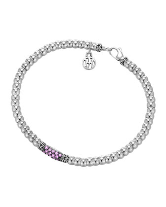 Bedeg Silver Beaded Bracelet with Pink Sapphire