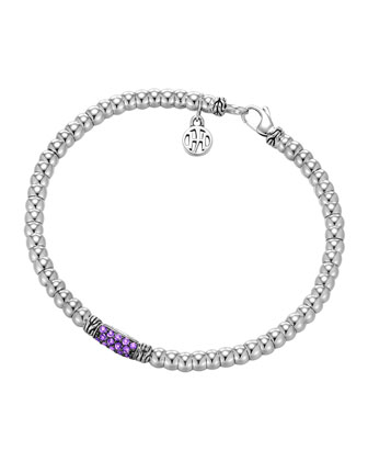 Bedeg Silver Beaded Bracelet with Amethyst