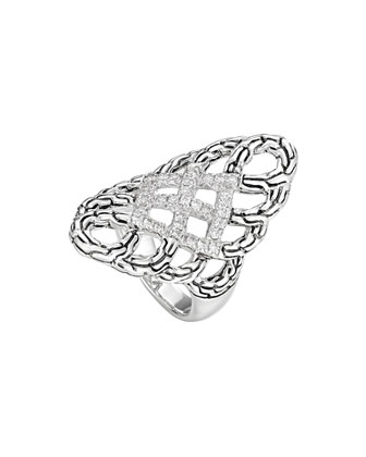 Classic Chain Pave Diamond Braided Saddle Ring