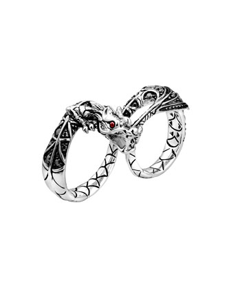 Naga Silver Two-Finger Dragon Ring