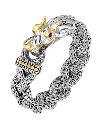 Naga Silver & 18k Gold Large Dragon Head Bracelet