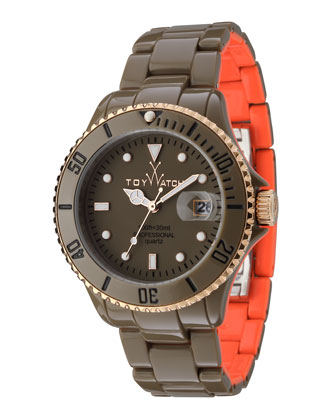 ToyMrHyde Two-Tone Plasteramic Watch, Olive/Orange