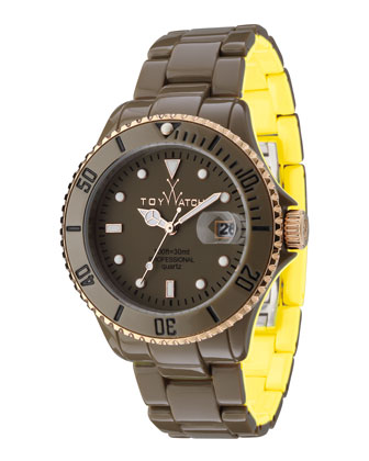 ToyMrHyde Two-Tone Plasteramic Watch, Olive/Yellow