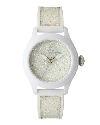 Glitter Silicone Watch, White