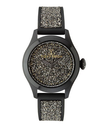 Glitter Silicone Watch, Black