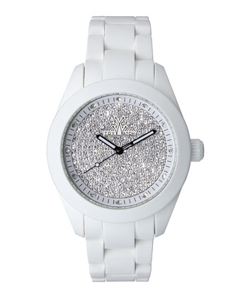 Velvety Full Pave Crystal Silicone Watch, White