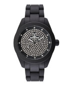 Velvety Full Pave Crystal Silicone Watch, Black
