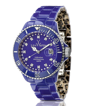 ToyMrHyde Two-Tone Plasteramic Watch, Leopard/Purple