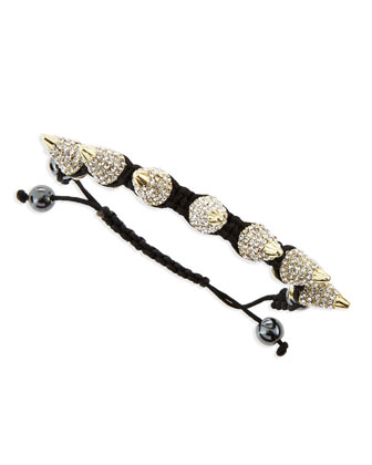 Large Pave Crystal Spike Bracelet, Black/Golden