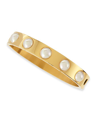 7mm White Pearl Shiny Bangle, 18k Gold Plate