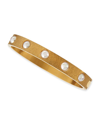 7mm White Pearl PorousBangle, 18k Gold Plate