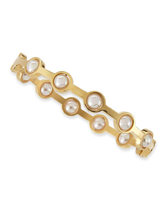 5mm White Pearl Station Shiny Bangle, 18k Gold Plate