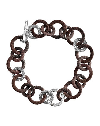 Rosewood & Silver Link Necklace, 18