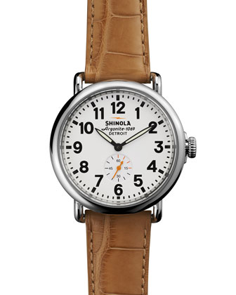 The Runwell Stainless Watch with White Leather Strap, 41mm