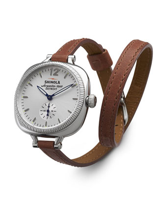 The Gomelsky Stainless Steel Watch with Double-Wrap Leather Strap, Red