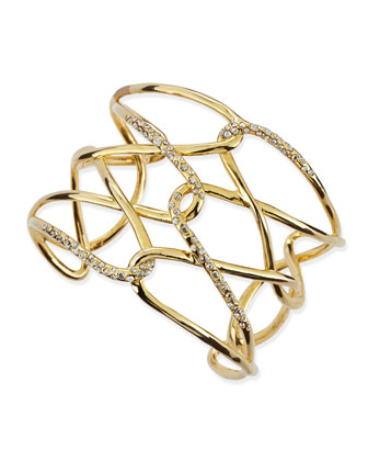 Yellow Golden & Crystal Crisscross Barbed Cuff