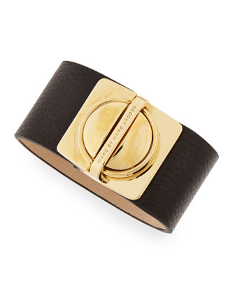 Circle-in-a-Square Logo Clasp Leather Bracelet, Black