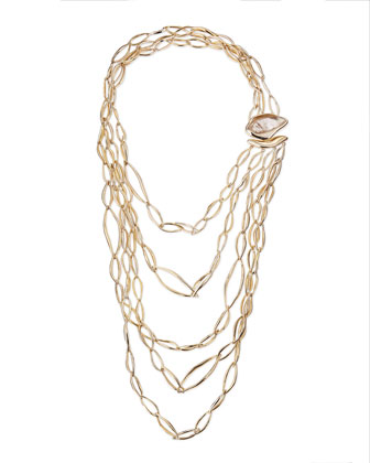 Golden Layered Infinity Necklace with Rutilated Quartz Clasp