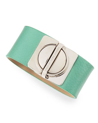 Circle-in-a-Square Logo Clasp Leather Bracelet, Light Green