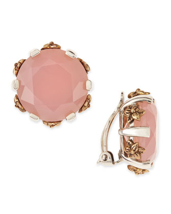 Pink Chalcedony Stud Clip-On Earrings