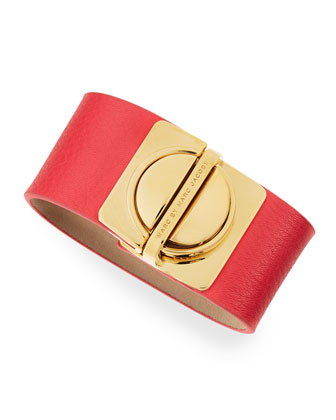 Circle-in-a-Square Logo Clasp Leather Bracelet, Coral