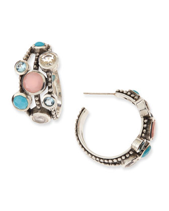 Nouveau Beaded Multi-Stone Triple-Row Hoop Earrings
