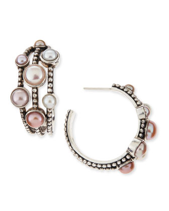 Nouveau Bead Pearl Triple-Row Hoop Earrings