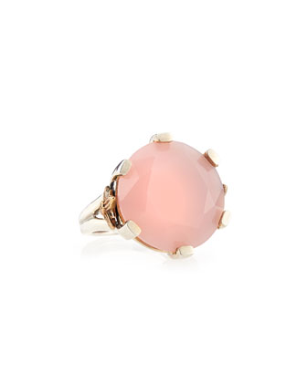 20mm Round Pink Chalcedony Ring