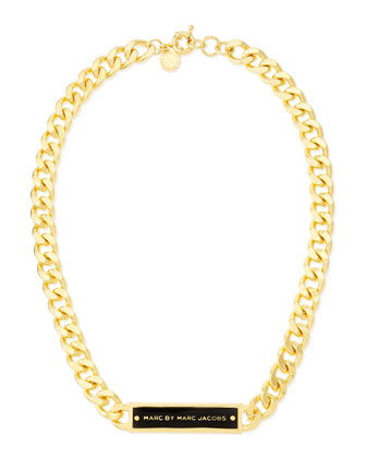 Chunky Enamel ID Necklace, Black/Golden