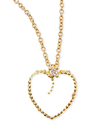 18k Yellow Gold Diamond White Heart Pendant Necklace