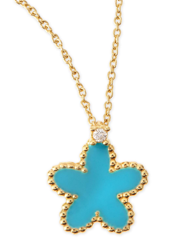 18k Yellow Gold Diamond Flower Pendant Necklace, Turquoise   Roberto Coin