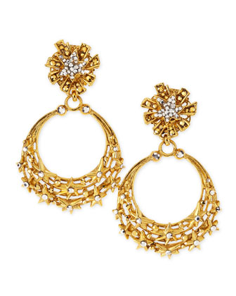 Glittering Golden Star Clip Earrings