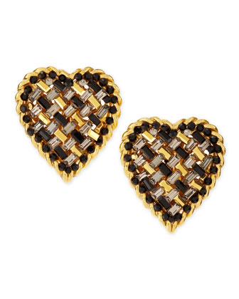 Crystal Heart Clip-On Earrings, Clear/Black