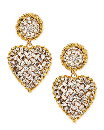 Crystal Heart Drop Clip-On Earrings, Clear