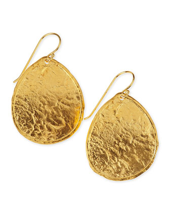 Hammered 22k Gold Plate Teardrop Earrings