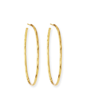 Thin Hammered Gold-Plated Hoop Earrings