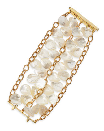 22k Gold Plate Mother-of-Pearl Petal Bracelet