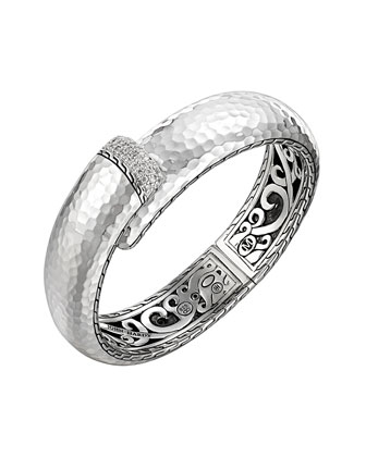 Large Palu Silver Kick Cuff with Diamonds