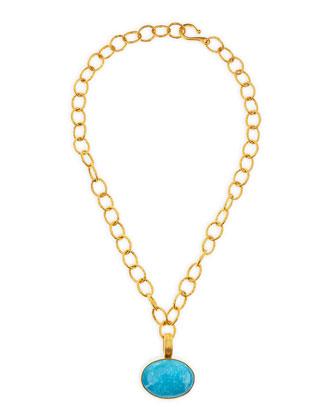 18k Vermeil Turquoise Enhancer Pendant Necklace