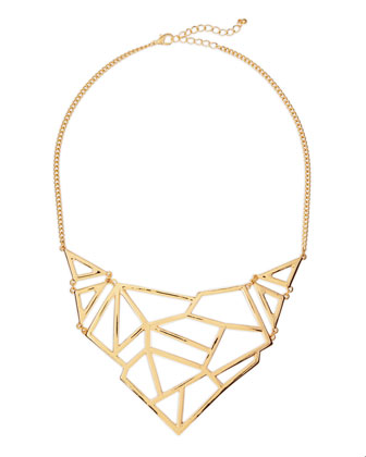Yellow Golden Geometric Bib Necklace