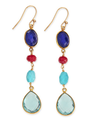 Semiprecious Drop Earrings, Multicolor