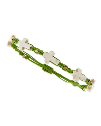 Hemp Cross Bracelet, Green/White
