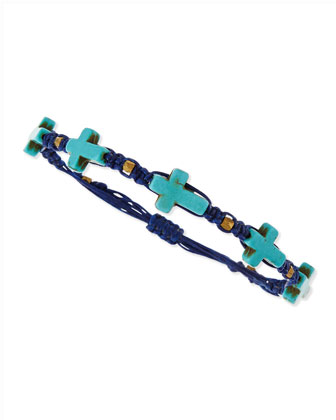 Hemp Cross Bracelet, Navy/Turquoise