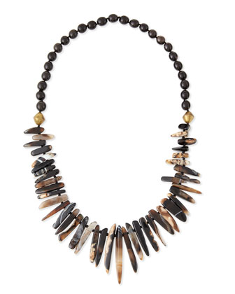 Black Agate & Horn Bead Necklace
